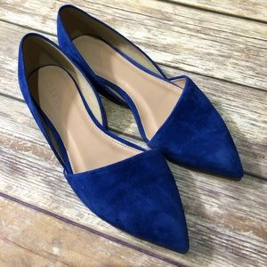 Jcrew blue suede pointed flats